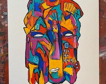 Original Streetart Graffiti painting on 300 gsm A4 watercolour paper.