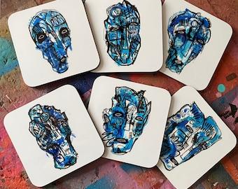 Set of 6 'Blue series' StreetArt Graffiti Illustrated Coasters