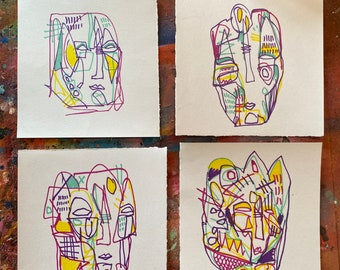 "Set of four 5.5"" Original Streetart Graffiti ink doodles on 200gsm paper."