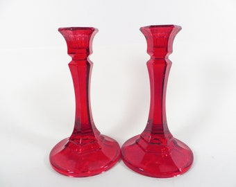 Vintage Red Glass Candle Holders - Red Glass Candlestick Holder
