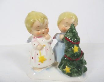 Vintage Napco Christmas Joy Angels and Tree Figurine -  S 1230 A  Napco Porcelain Christmas Angels