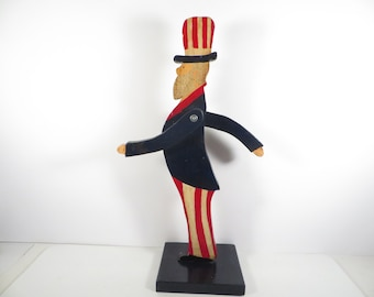 Vintage Wood Moveable Arms Uncle Sam - Tall Patriotic Uncle Sam Wood Figure