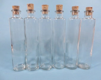Set of 6 Corked Bottles - Display Glass Bottles