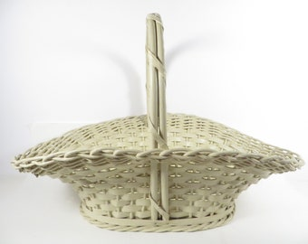 Vintage Creamy White Wicker Easter Basket - Vintage Harry and David White Basket with Handle