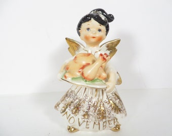 Vintage Lefton November Birthday Angel Figurine - Lefton 1987J Bisque November Angel of the Month Figurine