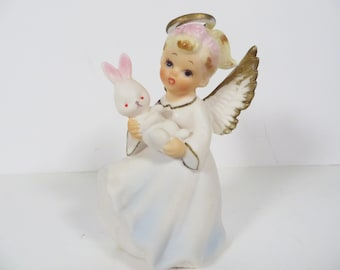 Vintage Lefton 3378 Easter Angel - Bisque Porcelain Lefton Easter Angel Figurine