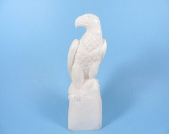 Vintage Italian Alabaster Eagle Statue - Cream Alabaster Carved Eagle
