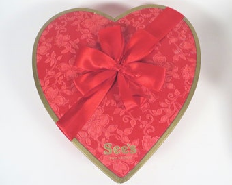 Mid Century See's Valentines Candy Box - Red Embossed Paper See's Heart Shaped Candy Box