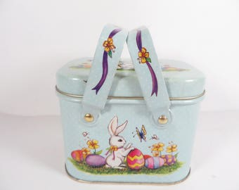 Vintage Tin Easter Container - Made in Hong Kong Tin Easter Candy Box