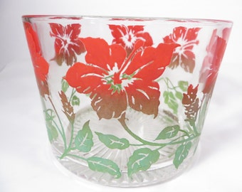 Vintage Red Poinsettia Flower Glass Ice Bucket - Christmas Ice Bucket