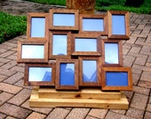 Rustic weathered 4x6 collage frames wall photo frames - 12 opening picture frame handmade from cedar wood - comes w backing-glass-hanger