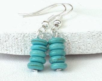30892e6cfe2e Turquoise blue howlite earrings