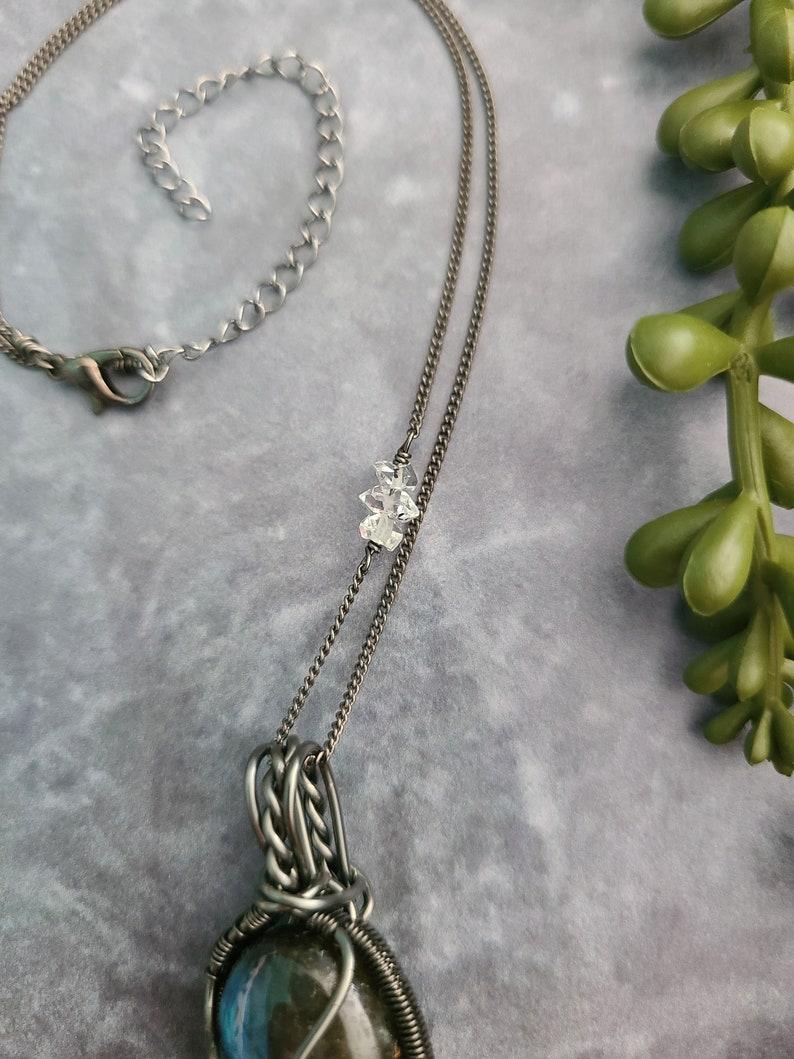 Short labradorite /& herkimer diamond necklace  labradorite necklace  short crystal necklace  gemstone necklace  stone necklace
