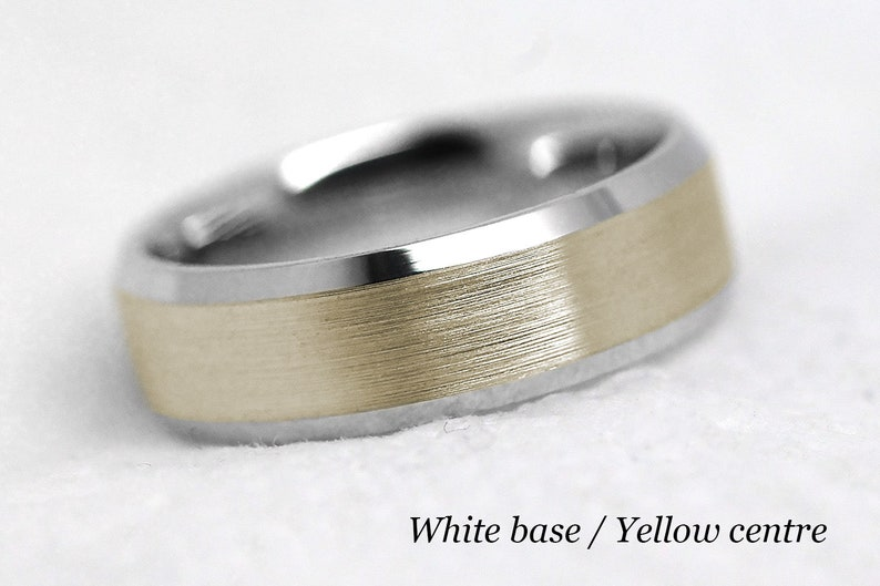 Traditional Ring 6mm Gold Beveled Wedding Band for Men /& Women Matching Wedding Ring Classic Gold Wedding ring
