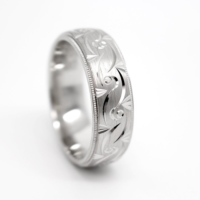 Wedding band in solid Silver Anniversary  silver ring 7mm 925 Sterling Silver Filigree Wedding Ring for Men /& Women