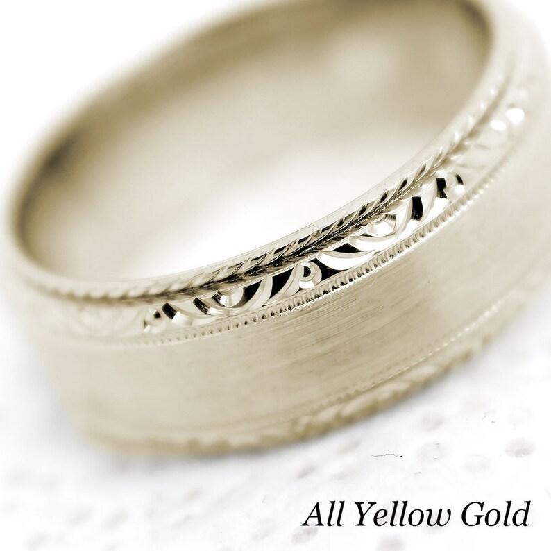 Wedding Ring for Men /& Women 7mm Wedding Ring 10k 14k 18k Gold with Filigree Edge