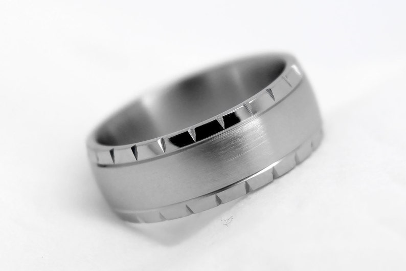 Jewelry & Watches Bridal & Wedding Party Jewelry Titanium 925 Sterling Silver Inlay 8mm Brushed Wedding Ring Band Size 11.50 Easy And Simple To Handle