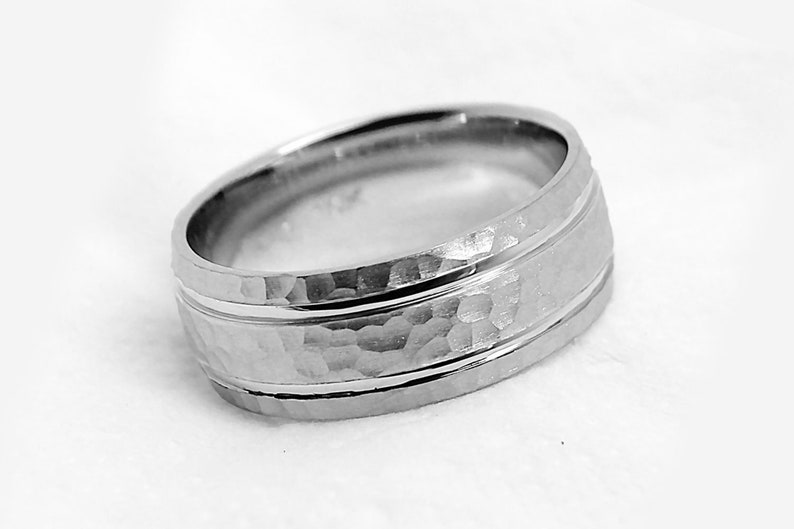 8mm 925 Sterling Silver 8061 Hammered wedding band for men Ring with two lines Simple hammered silver ring Hammered Wedding Band