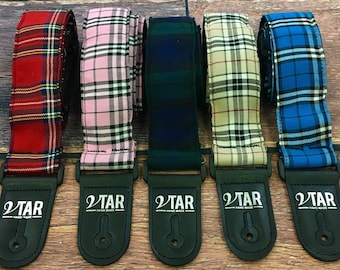 Handmade Tartan Plaid Guitar Strap by VTAR with Adjustable Length Available in 5 Colours Vegan