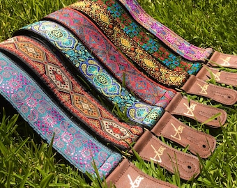 Handmade Colourful Psychedelic Hemp Guitar - Bass Strap with Brass Details and Brown Vegan Leather by VTAR 60s 70s Style