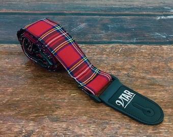 Vtar Vegan UK Made Red Tartan Adjustable Length Guitar Strap