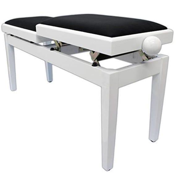 Marvelous Legato Duet Adjustable Piano Stool Bench Seat Polished White Kb115Pm Short Links Chair Design For Home Short Linksinfo