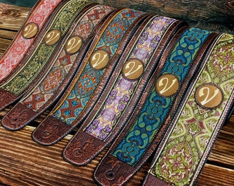 Handmade Psychedelic 60's 70's Luxury Jacquard Renaissance Guitar Strap by VTAR, Made with Vegan Leather. For Acoustic, Bass and Electric