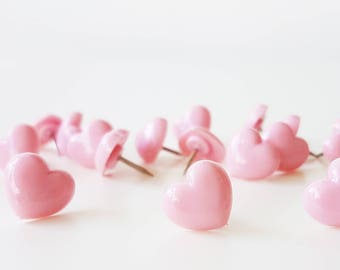 10 Sweet Pink Heart Push Pins Thumbtacks