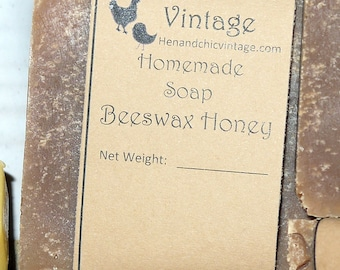 SALE!!! Handmade Beeswax Honey Soap No Artificial Colors, Dyes. Cold Process Soap, Local Raw Unfiltered Honey. Organic Ingredients.