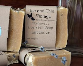 Handmade Lavender Goat's Milk Soap No Artificial Colors, Dyes. Backyard Garden Lavender Flowers, Cold Process Soap. Organic Ingredients