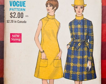 """7401 Vogue Size 12 Bust 34"""" Hip 36"""" A-line Coat and Dress both with Pockets 1968 Vintage Pattern"""