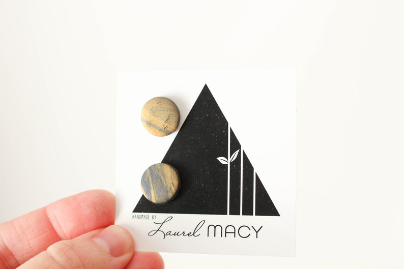 One of a Kind Laurel Macy Classic Studs Earrings 0490 Navy image 0