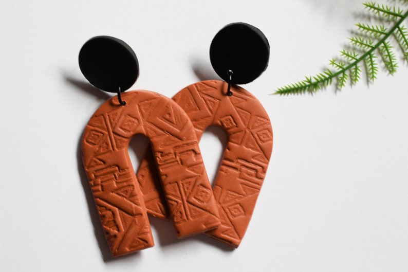 Dusty Desert Stamped Southwest Arch Dangles with Black Accents image 0