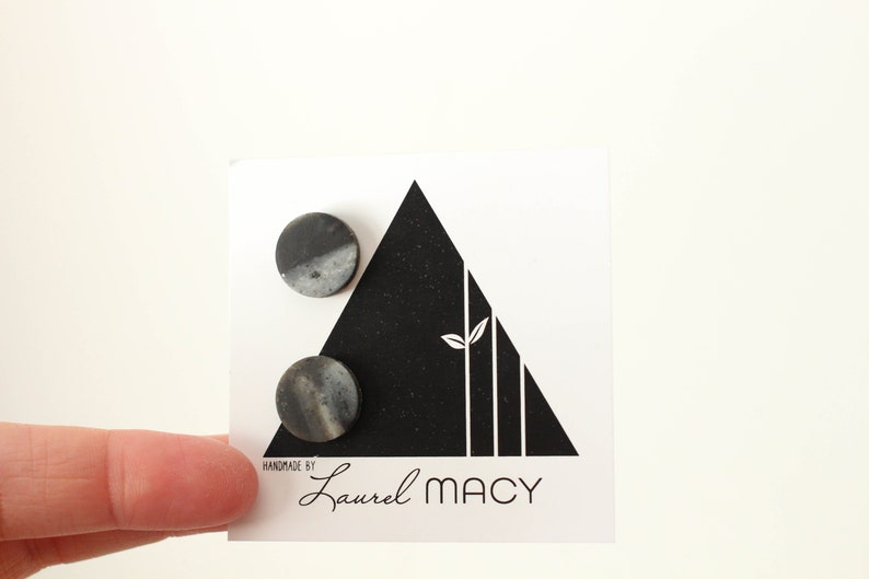 One of a Kind Laurel Macy Classic Studs Earrings 0491 Black image 0