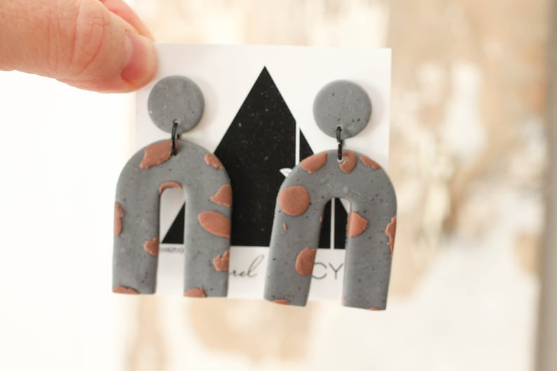 Slate and Earth Mini Arch Dangles with black accents   image 0