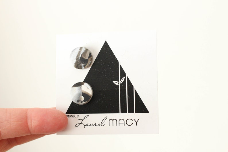 One of a Kind Laurel Macy Classic Studs Earrings 0486 Marble image 0