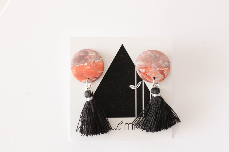 Mixed Circle Dangle Earrings with Black Tassels One of a Kind image 0