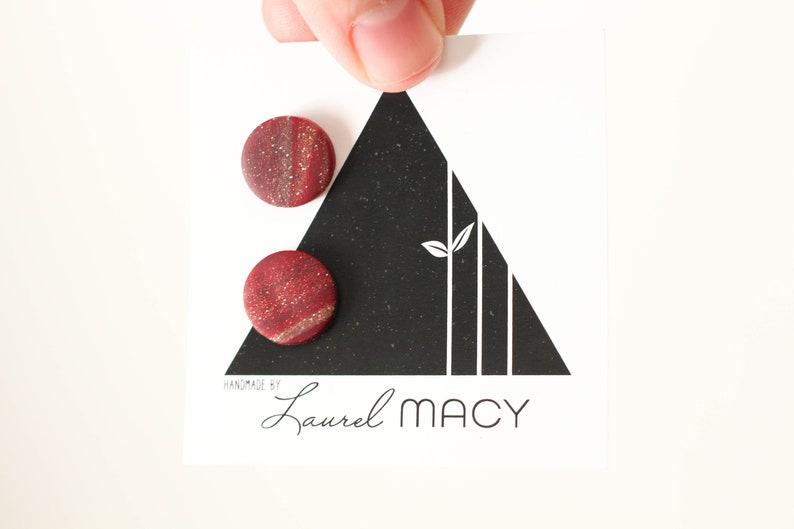 One of a Kind Laurel Macy Classic Studs Earrings 0488 Wine image 0