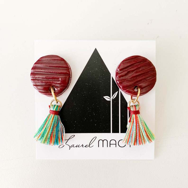 Textured Burgundy Circle Dangle Earrings with Multi Colored image 0