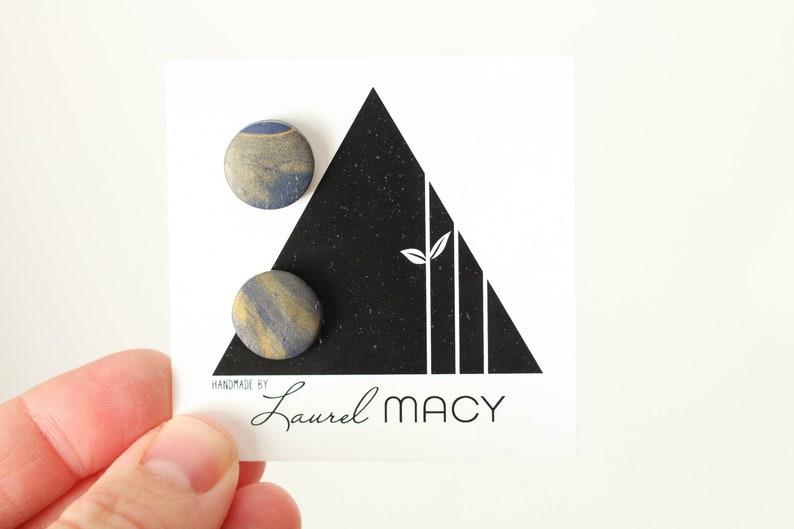 One of a Kind Laurel Macy Classic Studs Earrings 0496 Navy image 0
