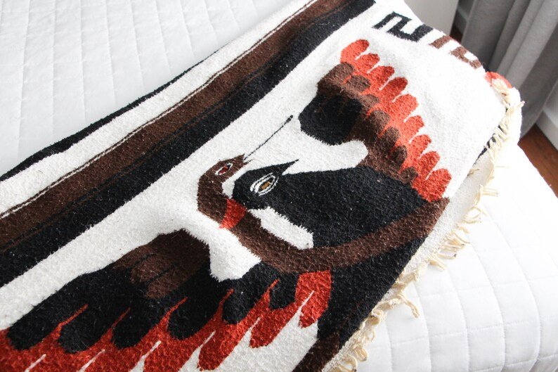 Brown Orange Black and Cream Mexican Blanket depicts Mexican image 0