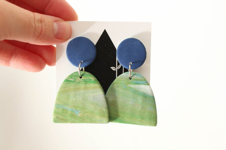 Blue Green and White Marble Dangles  Handmade Polymer Clay image 0
