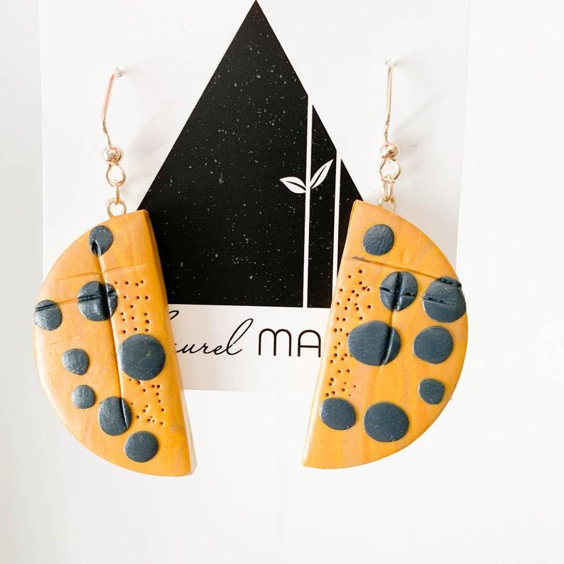 Navy and Mustard Half Moon Drop and Dangle Handmade Polymer image 0