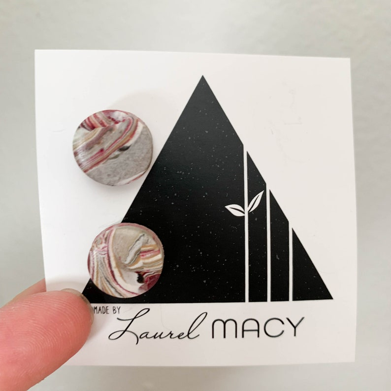 One of a Kind Laurel Macy Classic Studs Earrings 0432 Glossy image 0