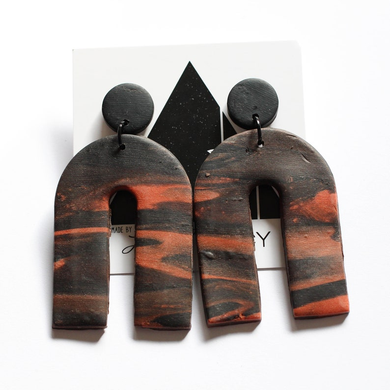 Black and Rust Arch Dangles with Black Accents  Handmade image 0