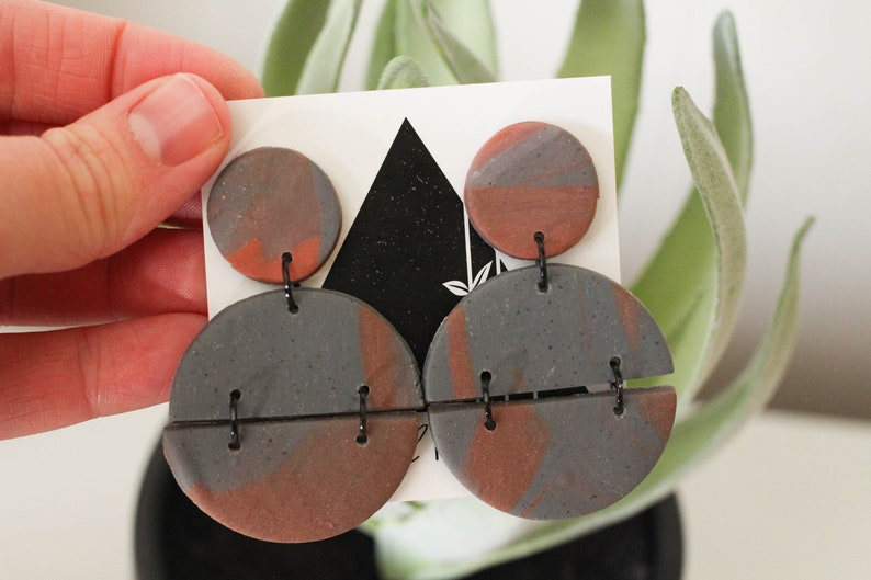 Rust and Slate Gray Full Circle Dangles with Black Accents  image 0