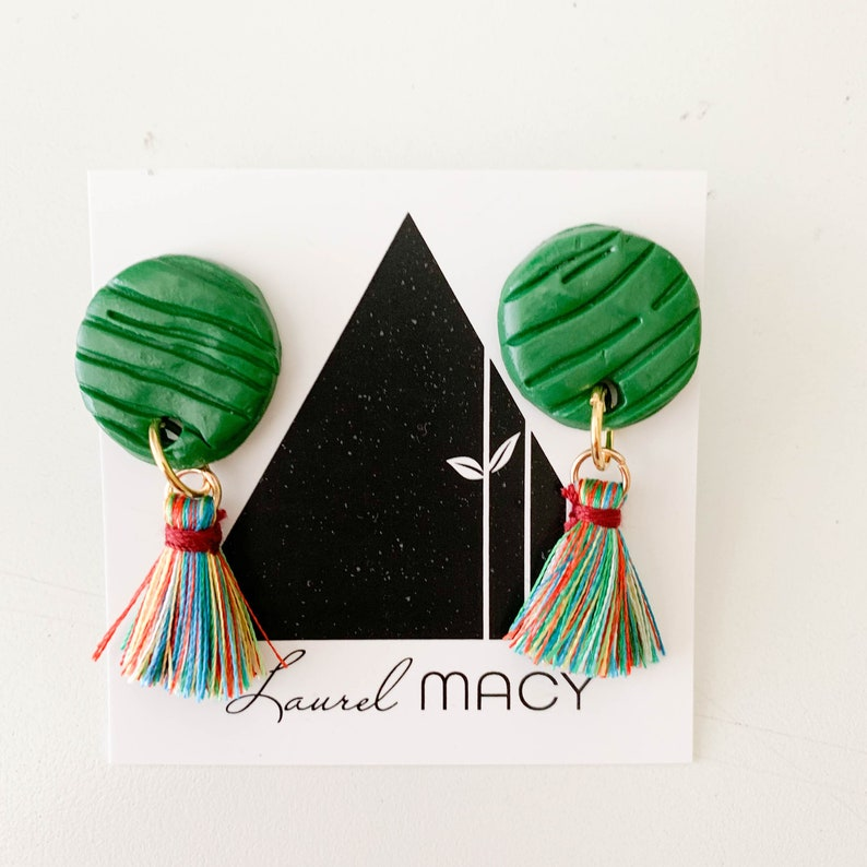 Textured Emerald Green Circle Dangle Earrings with Multi image 0