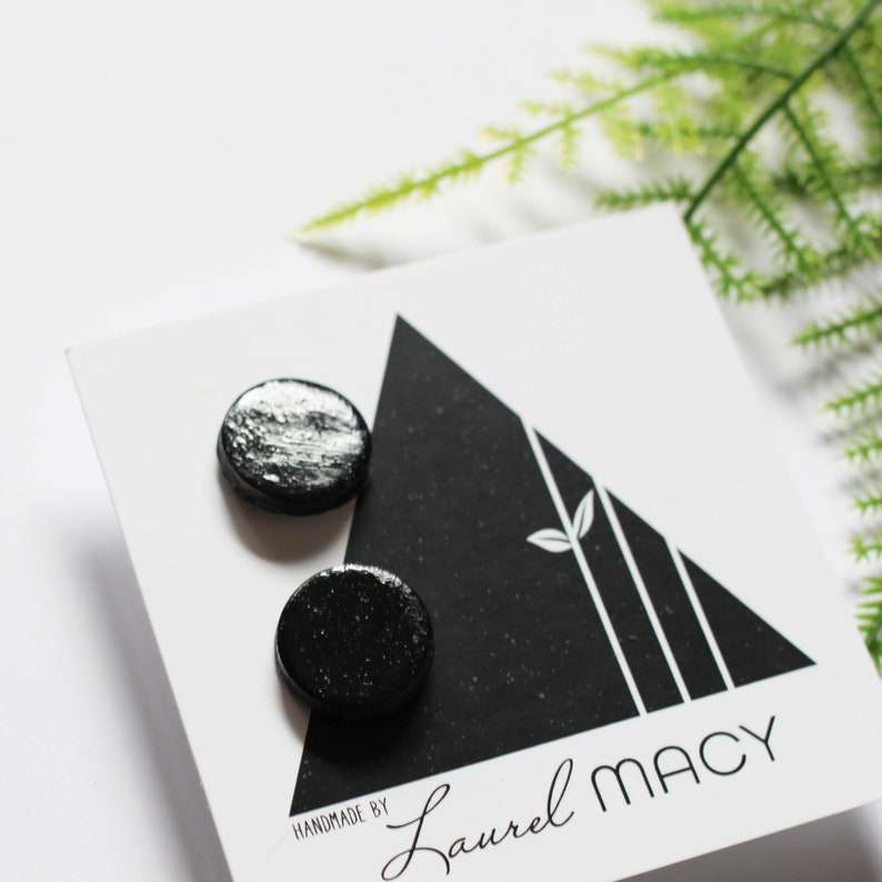 Glossy Black Laurel Macy Classic Studs Earrings image 0