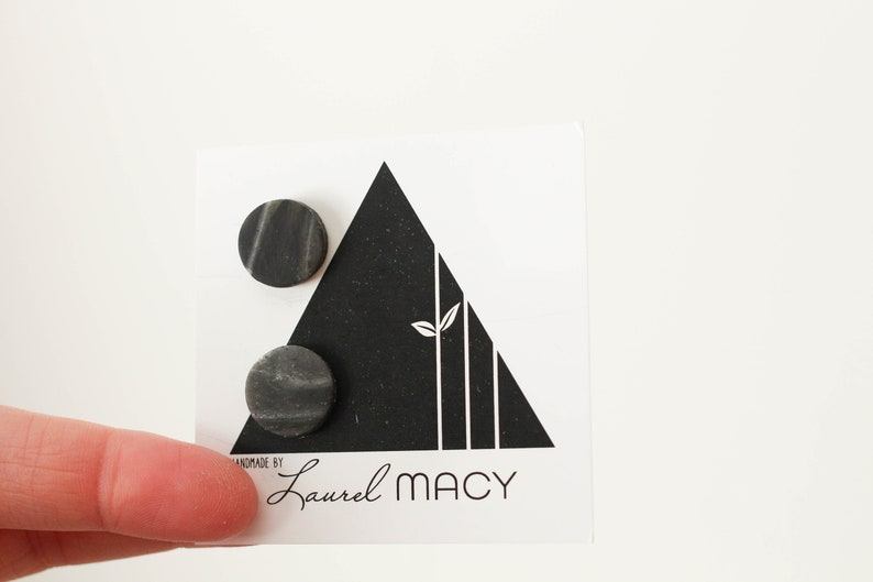 One of a Kind Laurel Macy Classic Studs Earrings 0493 Black image 0