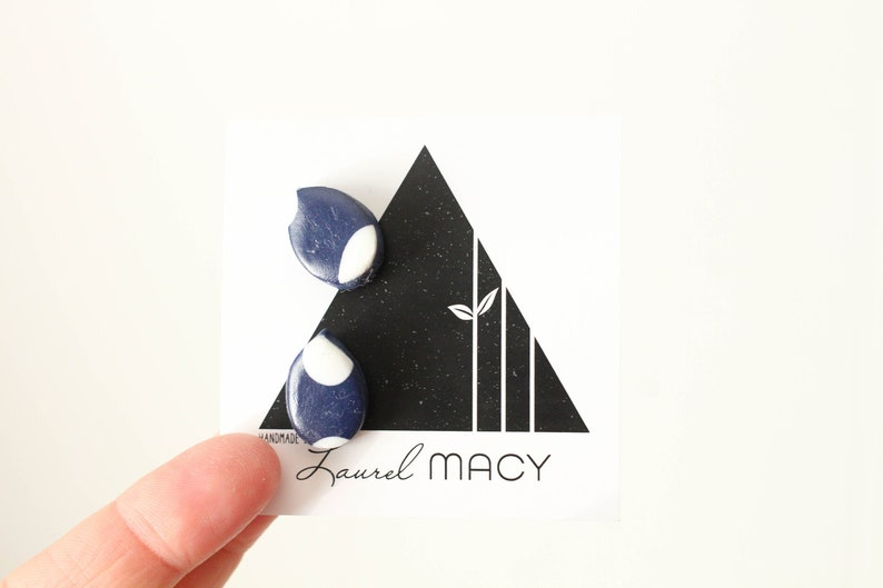 Shiny Navy and White polkadot Tear Polymer Clay Stud Earring image 0